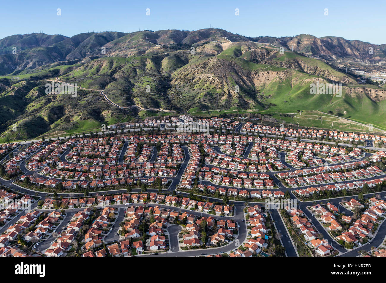 Hillside suburban Häuser im Stadtteil Porter Ranch in Los Angeles, Kalifornien. Stockbild