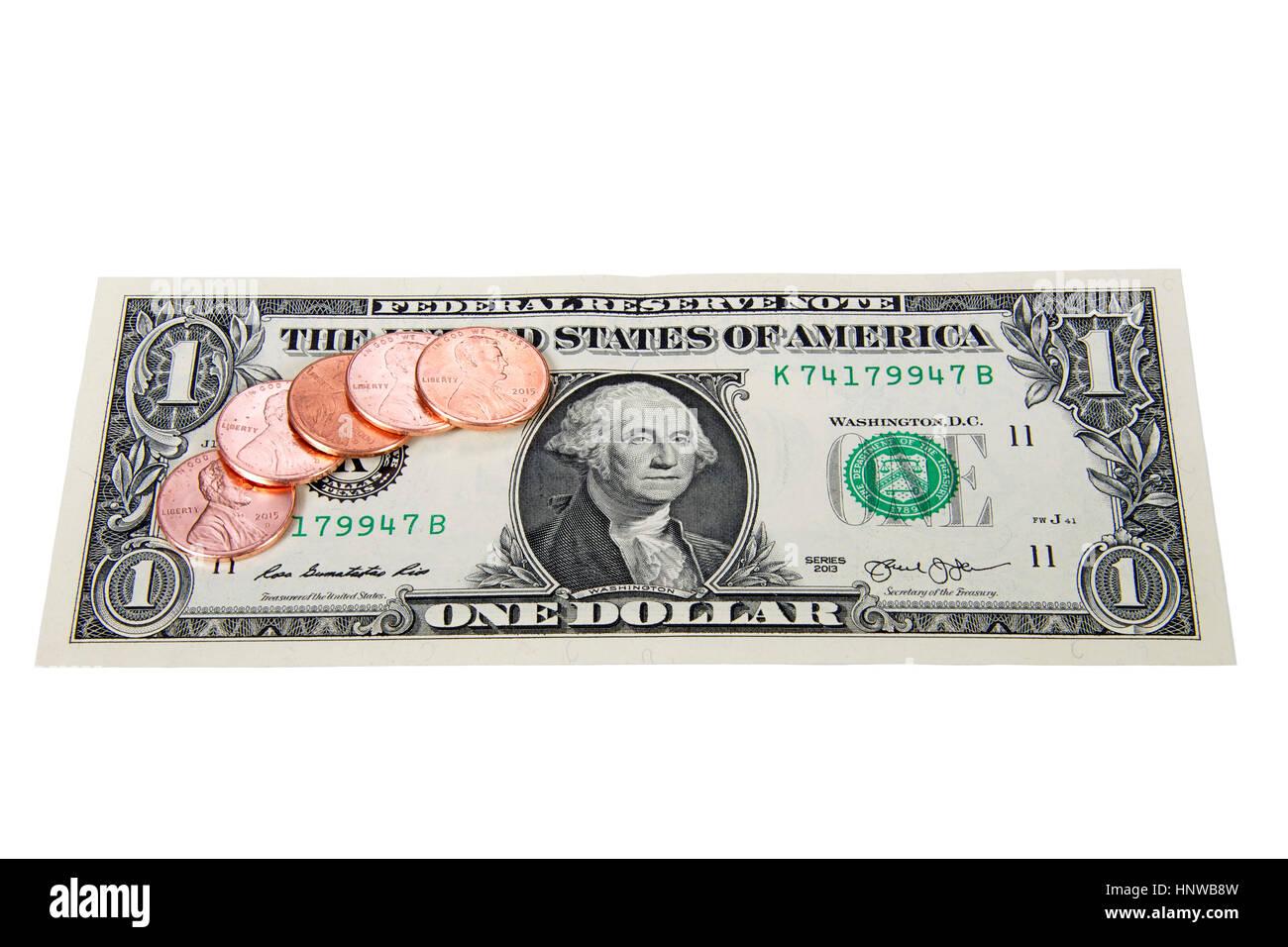 Pennies auf dem Dollar. Metapher oder Idiom für gutes Geschäft oder Deflation. Viel billiger, dann früher. Stockbild