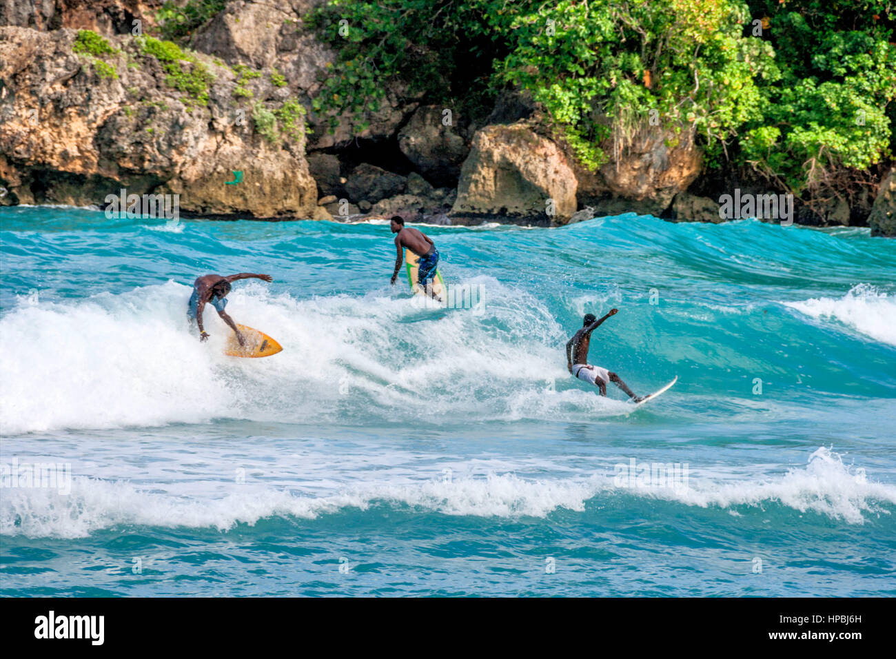 Surfer, Boston Bay, Wassersport, Wellen, Surfen, Jamaica, Jamaika Stockbild