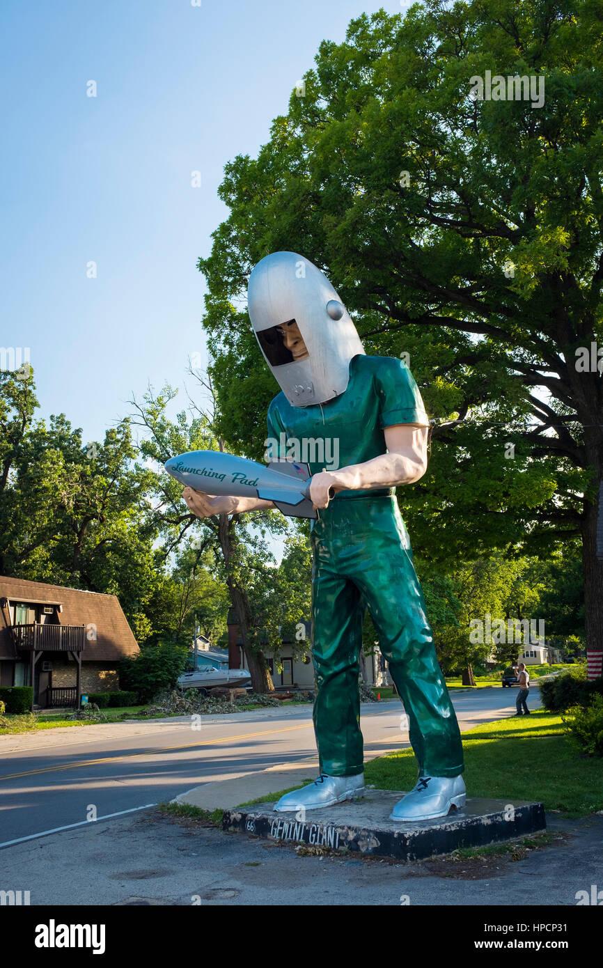 Wilmington, Illinois, USA - 5. Juli 2014: The Gemini Giant Statue in uns Route 66 in Wilmington, Illinois, USA Stockbild
