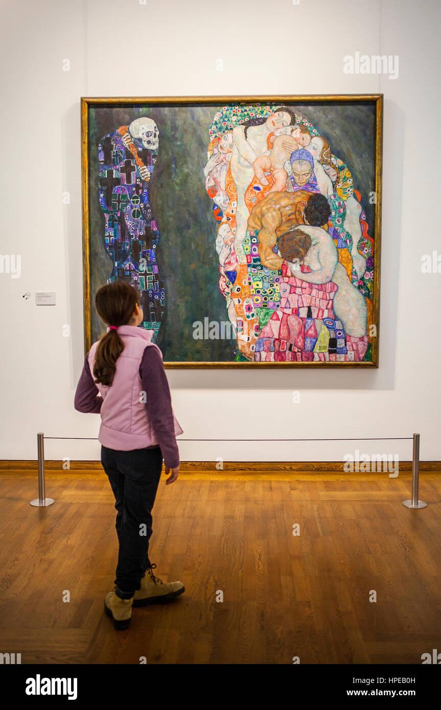 Tod Und Leben, Öl auf Leinwand, Gustav Klimt, Leopold Museum, Wien, Österreich, Europa Stockbild
