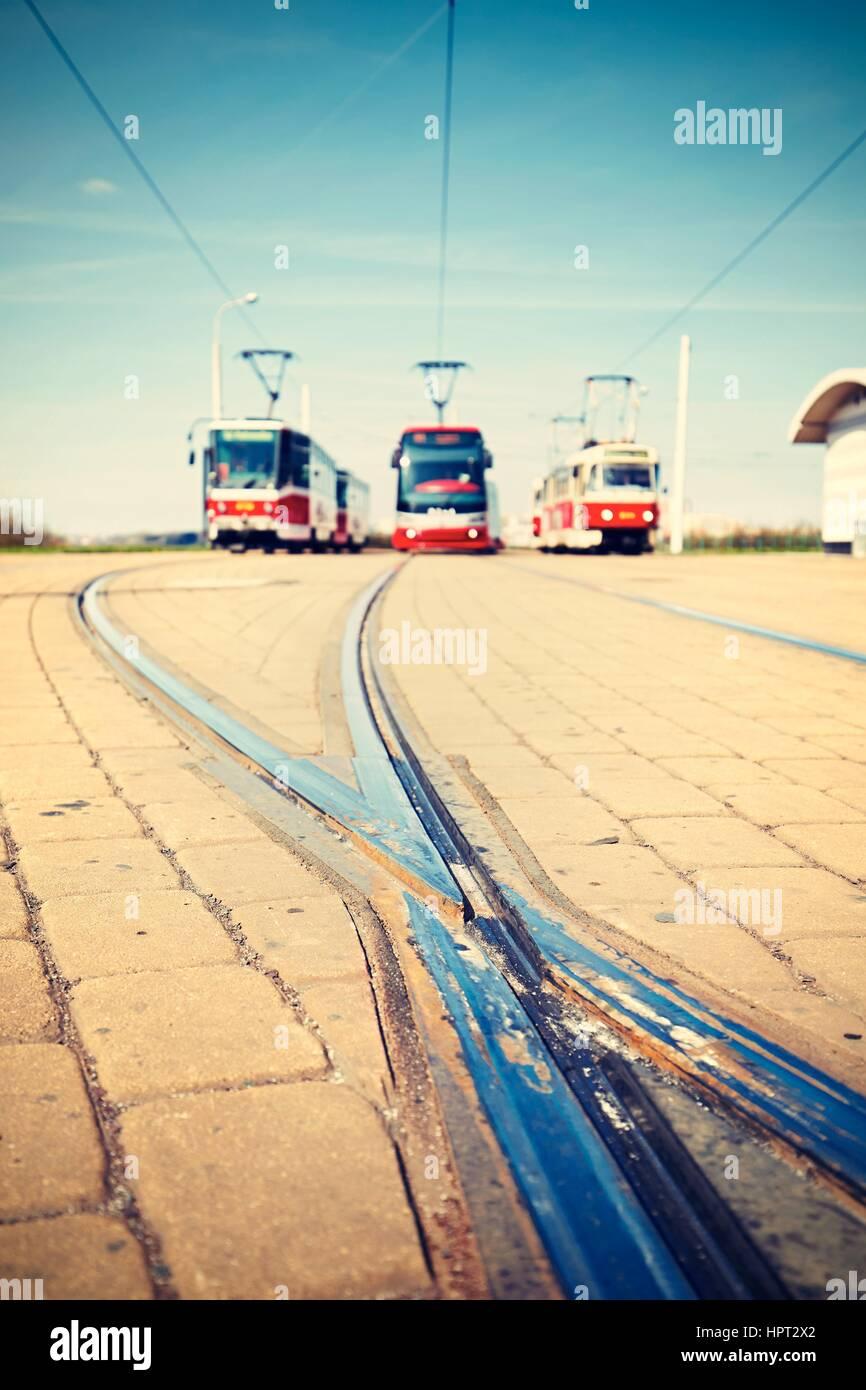 Endstation der Straßenbahn-Linien in Prag - selektiven Fokus Stockbild