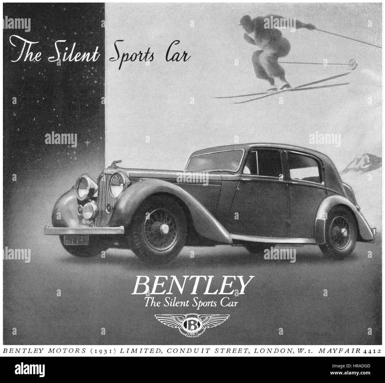 1946 britische Werbung für Bentley Sportwagen. Stockbild