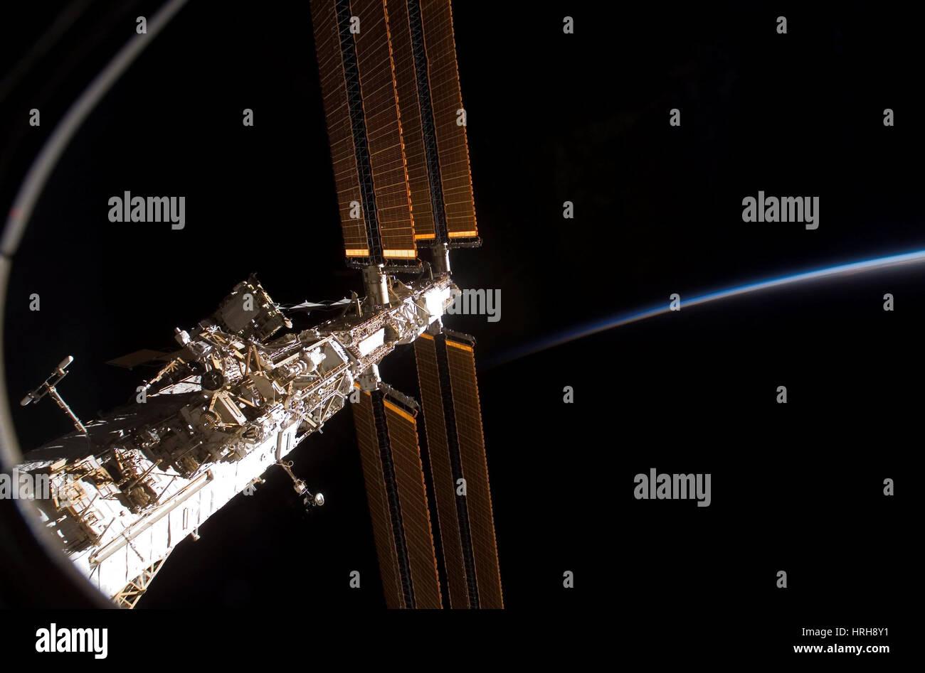 STS-122, internationale Raumstation, 2008 Stockbild