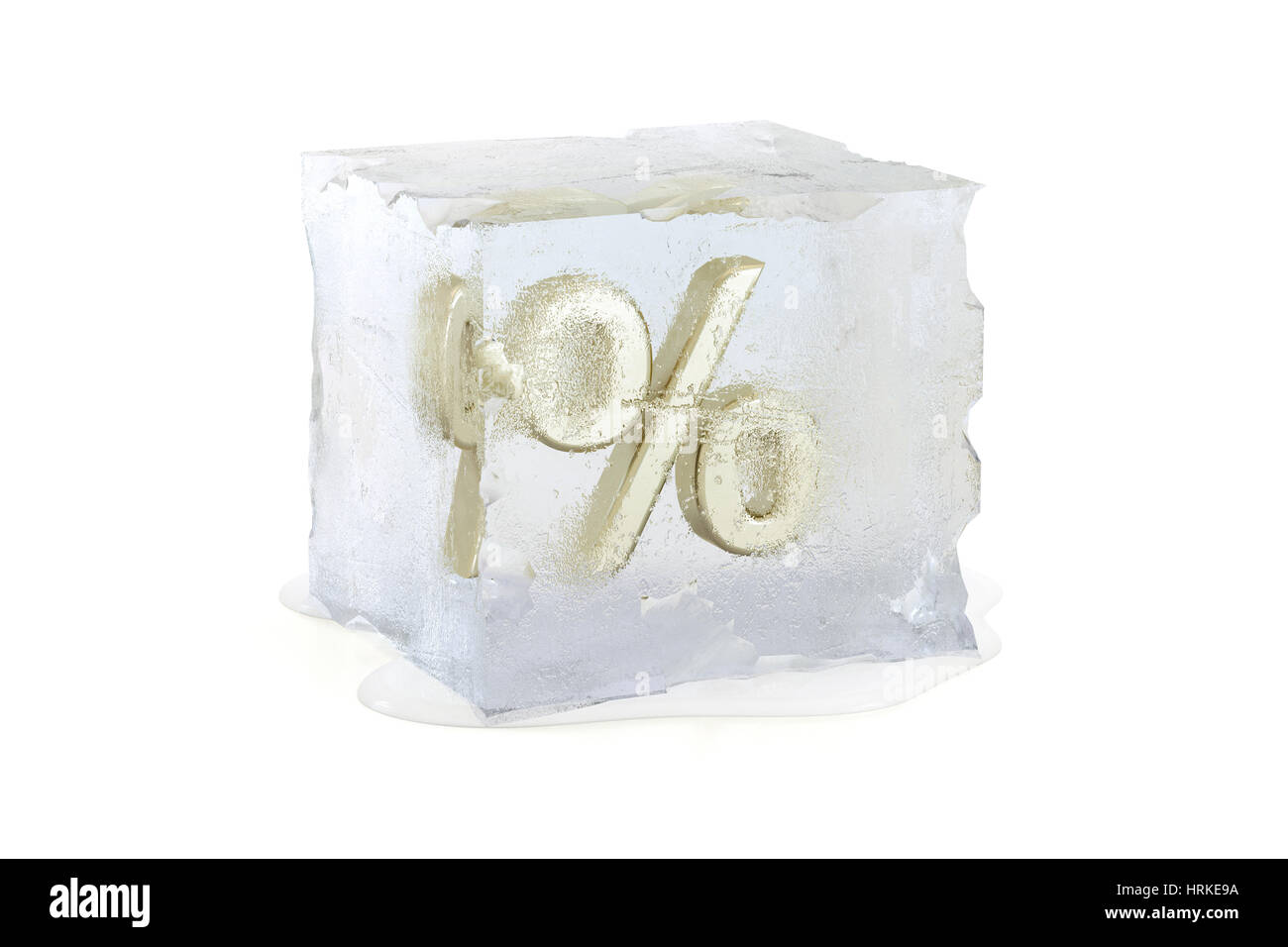 Prozentsatz Symbol in einem langsam schmelzen Ice Cube - Zinssatz freeze Konzept eingefroren Stockbild