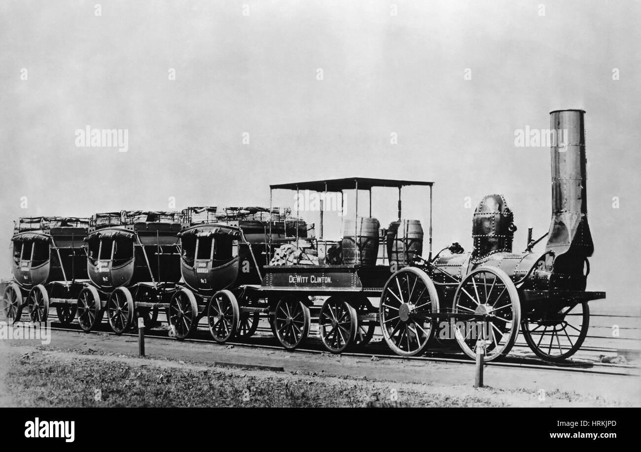 DeWitt Clinton Lokomotive & Autos Stockbild