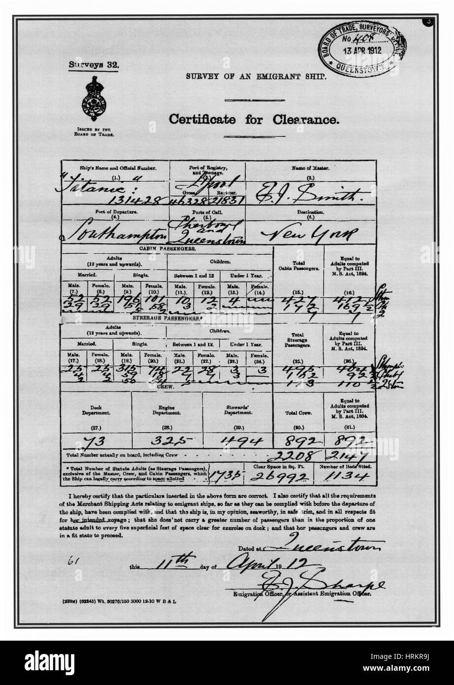 Titanic-Dokument Stockbild