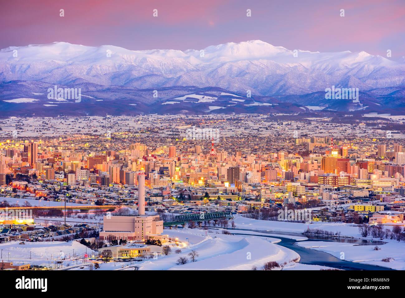Asahikawa, Japan Winter Stadtbild in Hokkaido. Stockbild