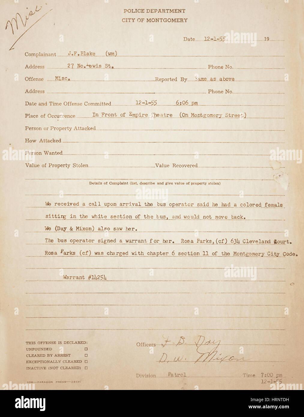 Rosa Parks Verhaftung Rekord, 1955 Stockbild