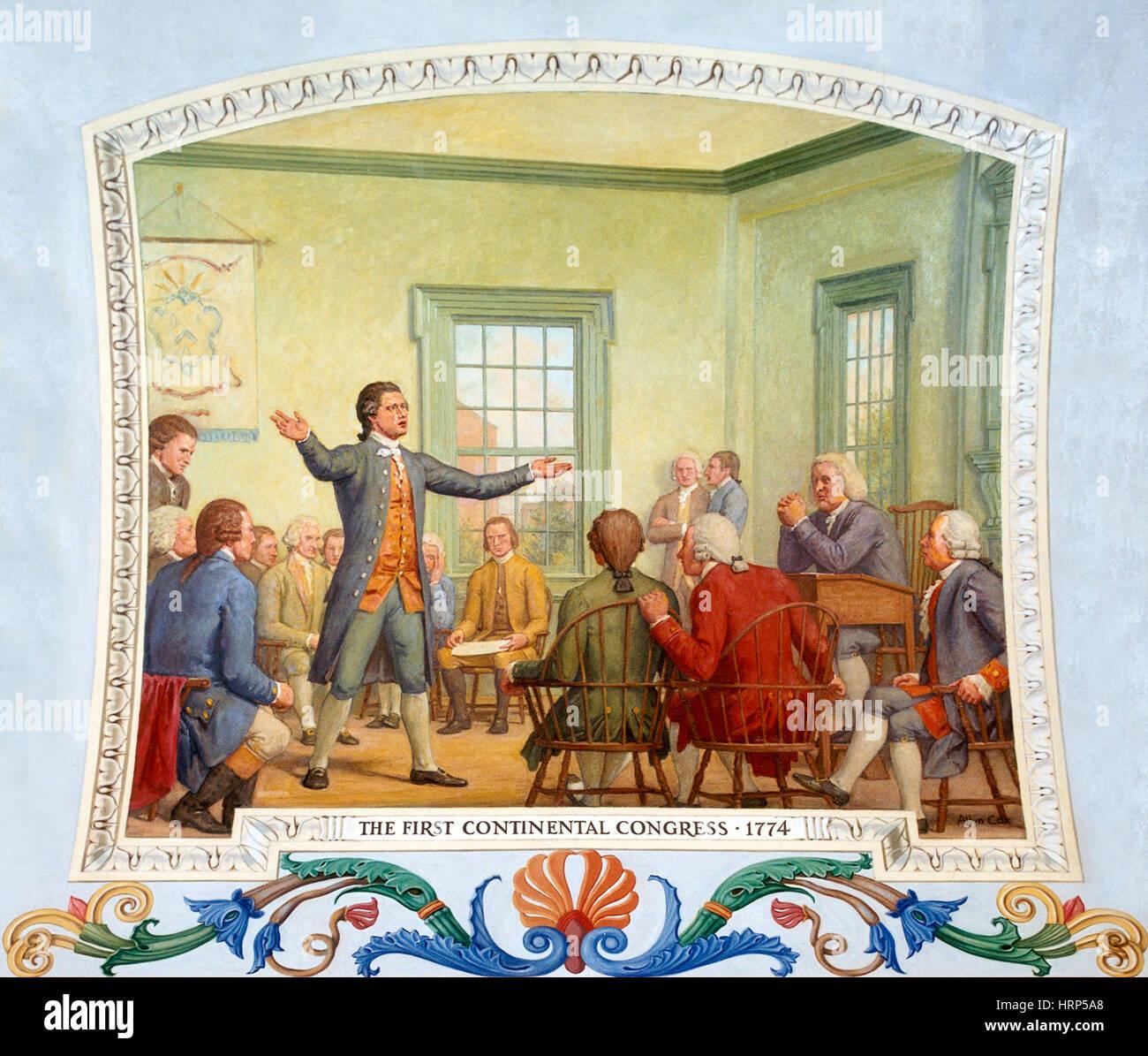 Patrick Henry, ersten Kontinentalkongress 1774 Stockbild