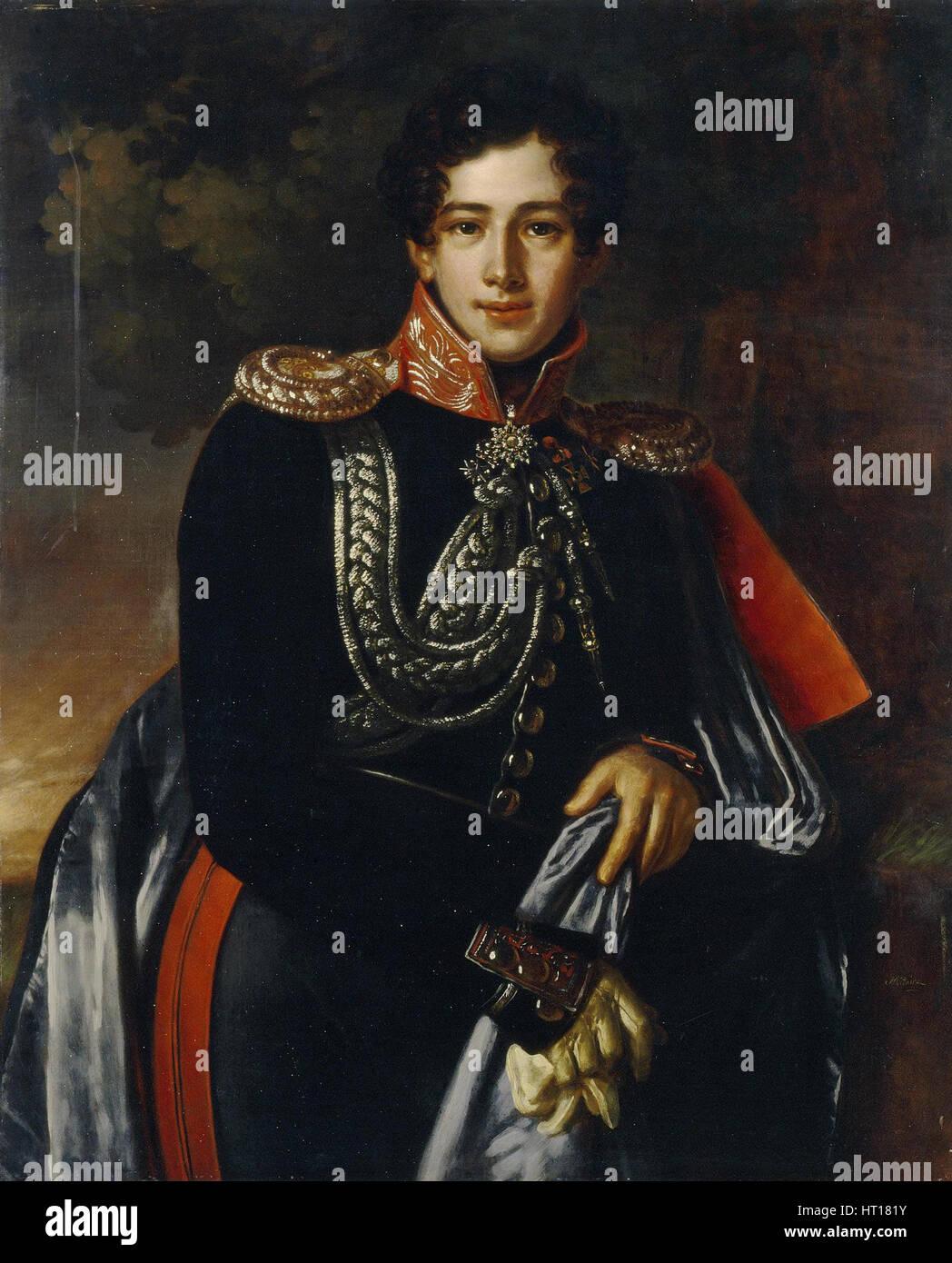 Porträt des Grafen Nikolai Alexandrowitsch Samoylov (1800-1842), ca. 1825. Künstler: Mitoire, Benois Karl Stockbild