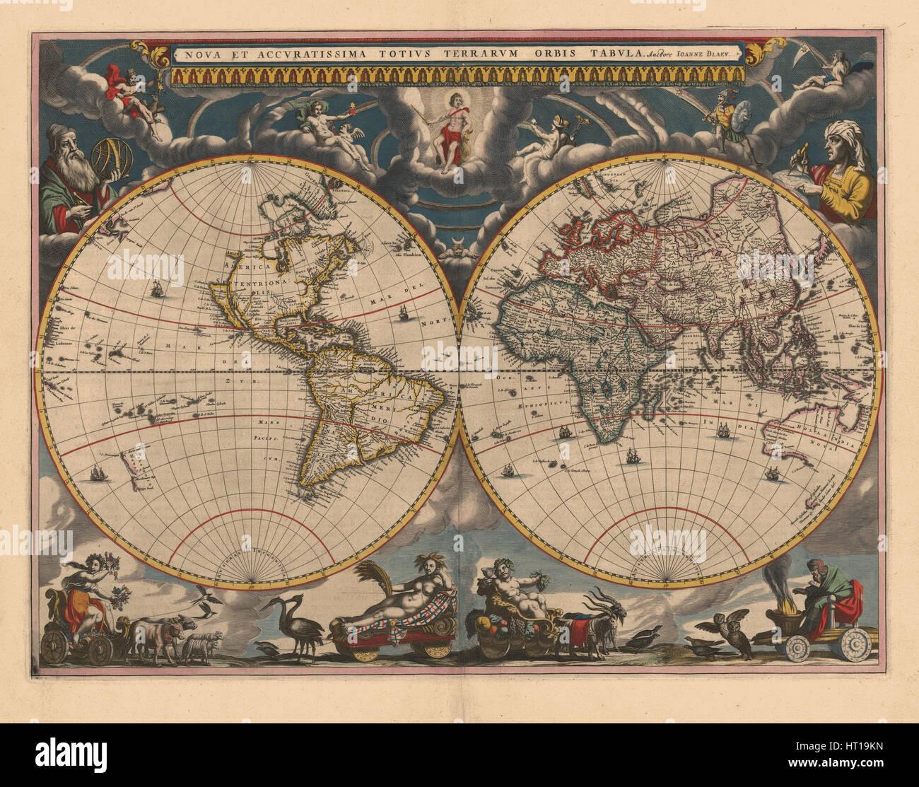 Doppelte Hemisphäre Weltkarte, 1662. Künstler: Blaeu, Joan (1596-1673) Stockbild
