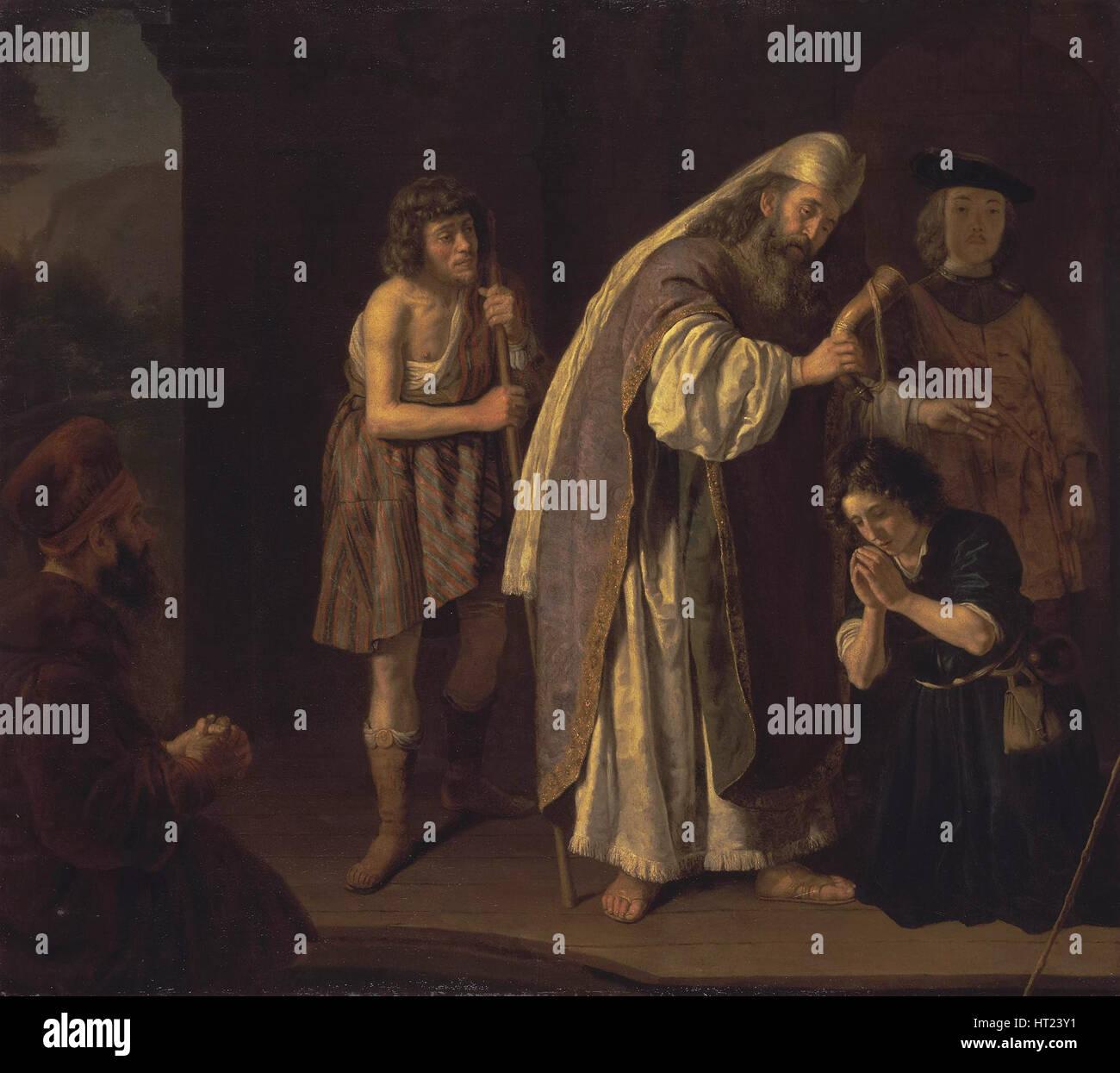 Die Salbung Davids, c. 1645. Künstler: Sieger, Jan (1619-nach 1676) Stockbild