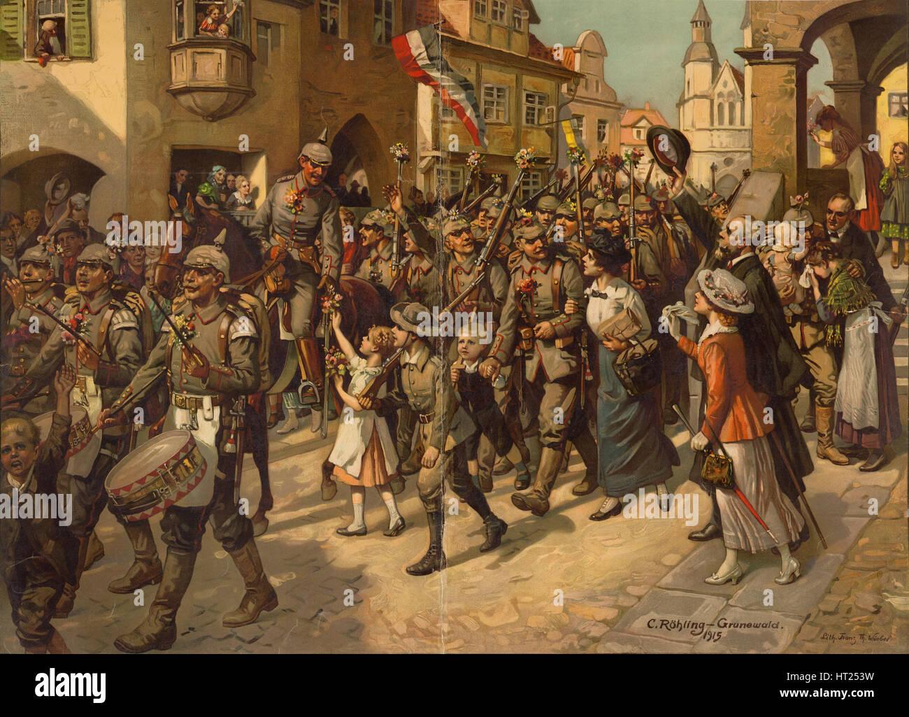 Die Mobilmachung im Jahre 1914. Bild, das Schulen Geschichtsunterricht, 1915. Künstler: Röhling, Carl Stockbild