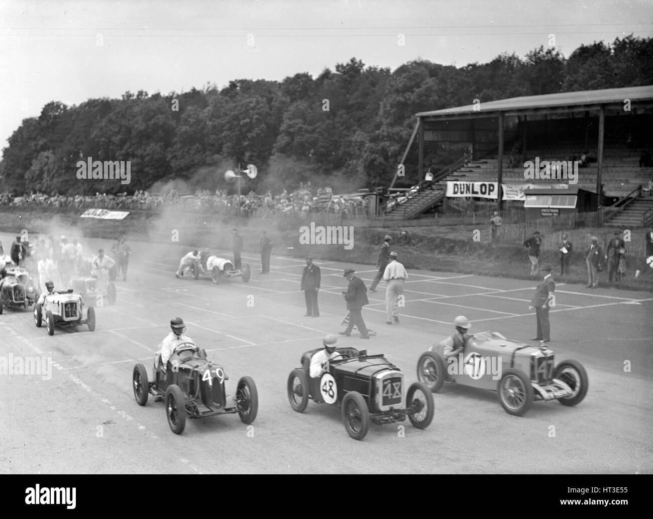 Rennen in Donington Park, Leicestershire, 1936. Künstler: Bill Brunell. Stockbild