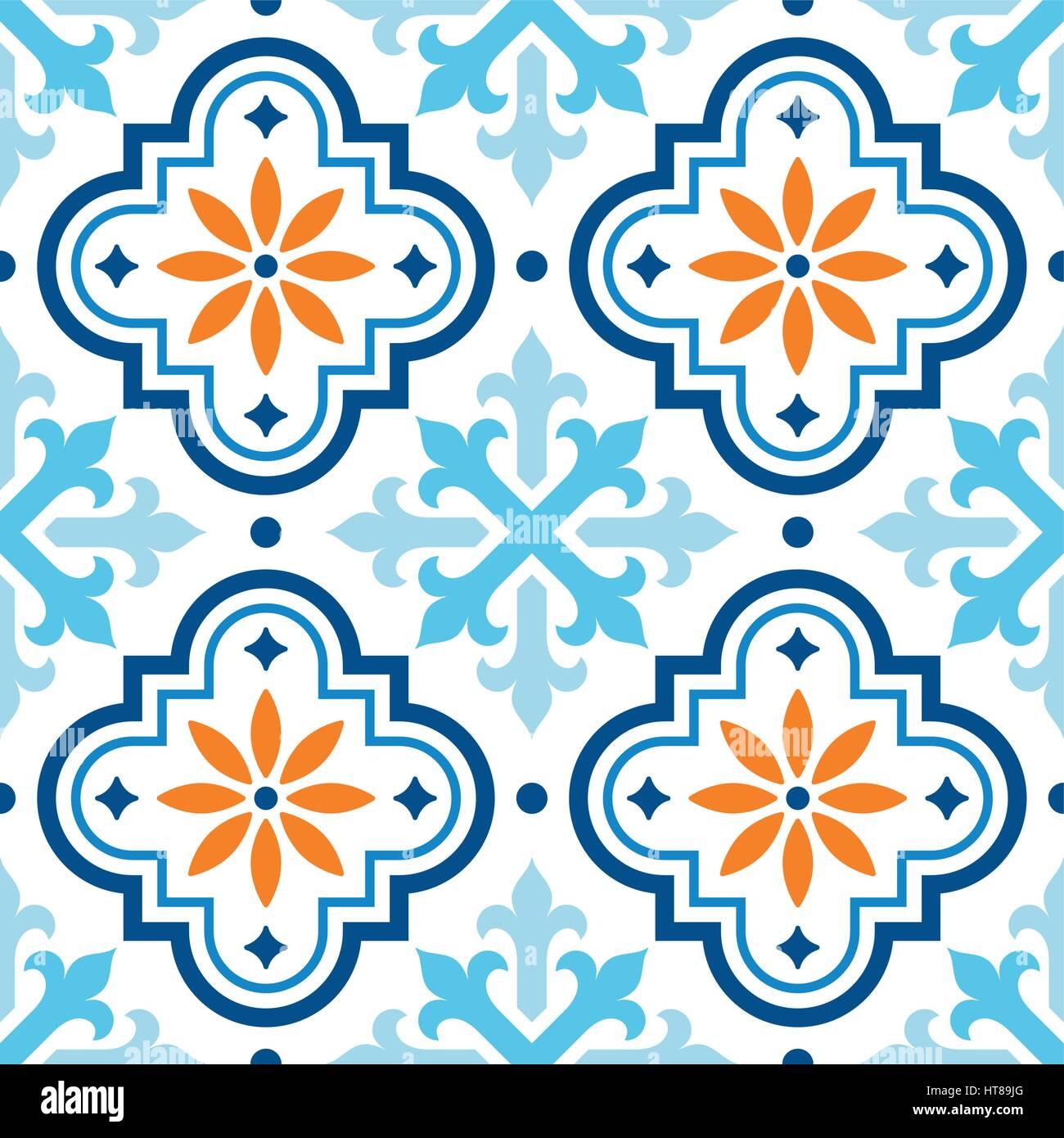Spanische Fliese Muster, marokkanischen Fliesen Design, nahtlose ...