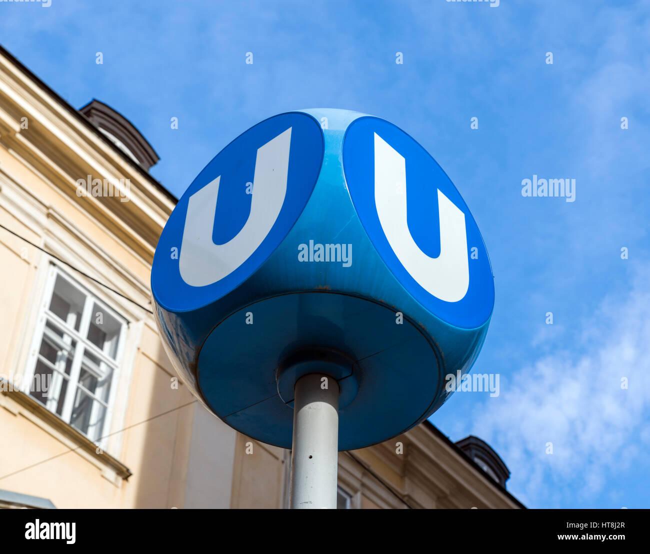 U-Bahn Station Zeichen, Wien, Österreich. Stockbild