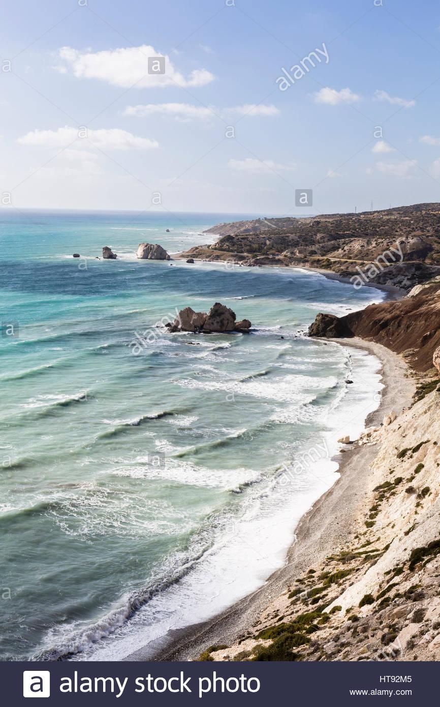 Erhöhte Sicht von Petra Tou Romiou, Paphos, Zypern Stockbild