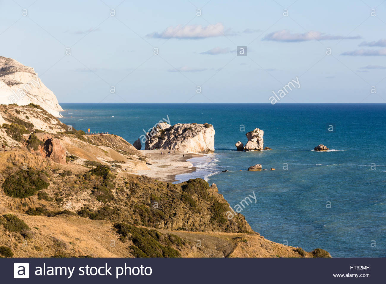Küsten-Ansicht bei Petra Tou Romiou, Paphos, Zypern Stockbild