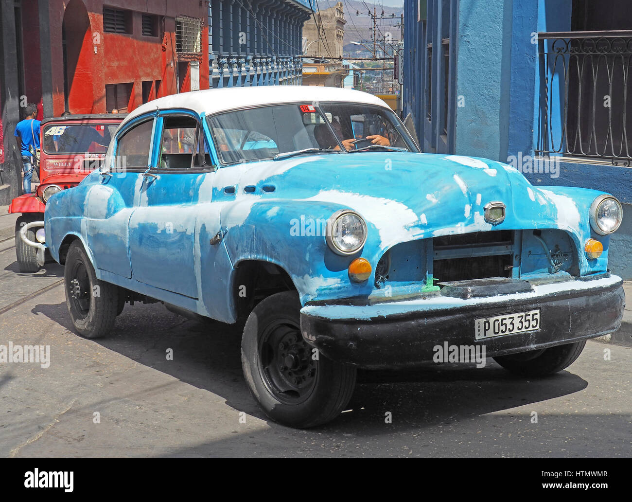 Unrestaurierten amerikanisches Auto in Santiago De Cuba. Stockbild