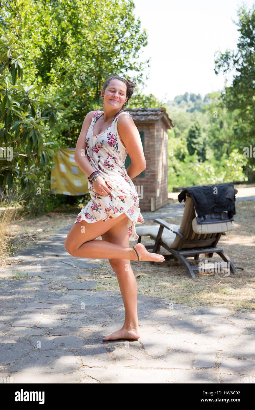 Glückliches Mädchen in Italien Stockbild