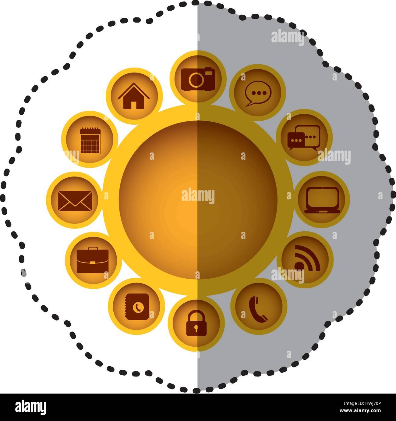 gelb-Technologie-apps-Verbindungen-Symbol Stockbild