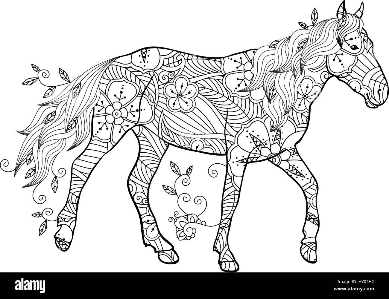 Malvorlagen in Zentangle inspirierten Stil. Laufenden Pferd ...