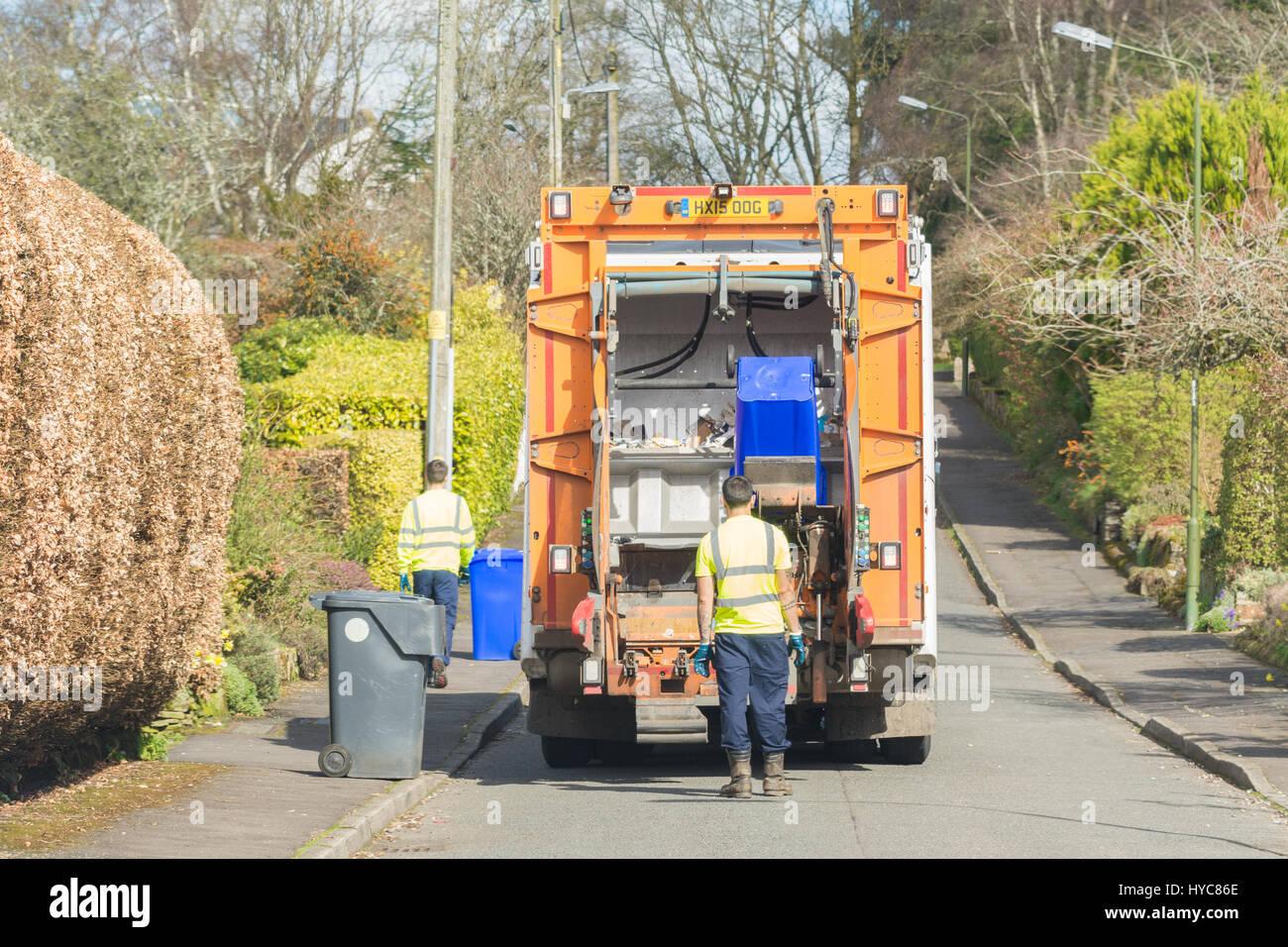 Recycling LKW Stirlingshire, Schottland Stockbild