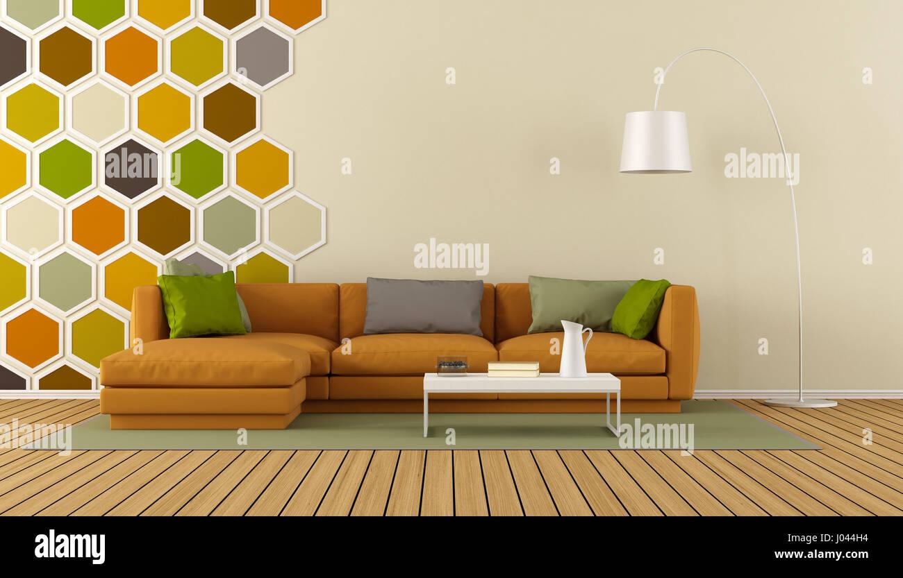 Modernes Wohnzimmer Mit Sechseck Dekorationen Auf Wand Und Orange Sofa   3d  Rendering