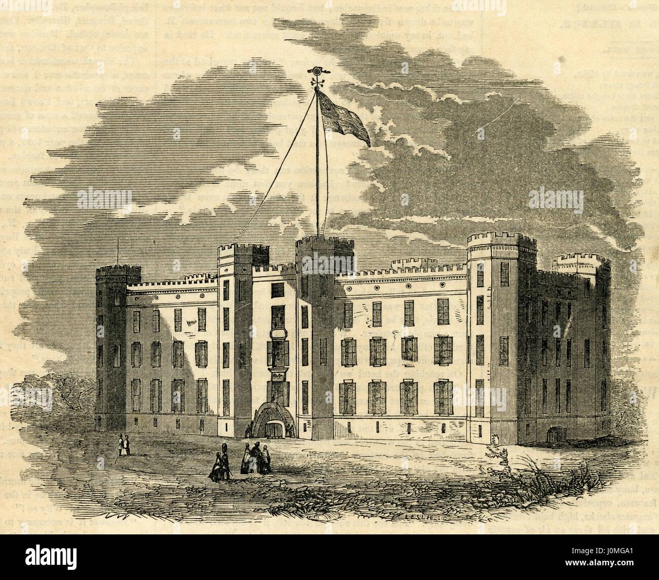 """Antiken 1854 Gravur, """"Staatliche Arsenal, New York City."""" Das Arsenal ist eine symmetrische Backsteingebäude Stockbild"""
