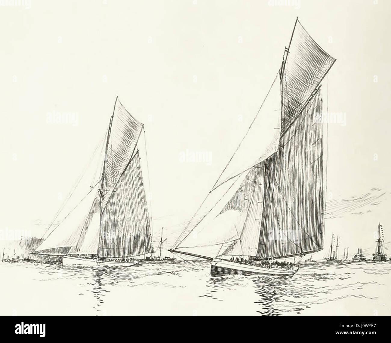 Galatea (links) und Mayflower ab ihr erstes Rennen der sechsten Herausforderung für den Americas Cup, in der Stockbild
