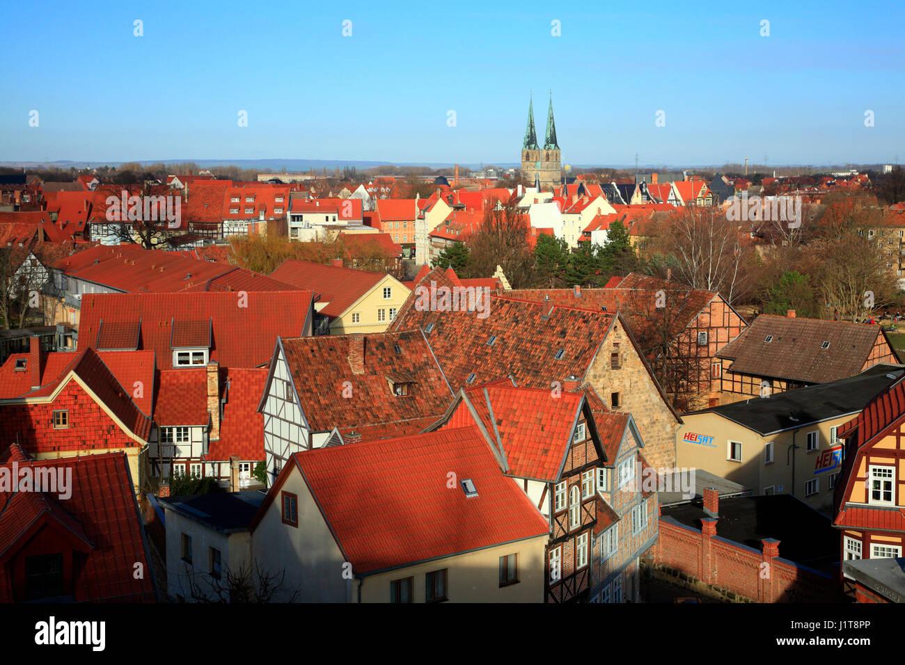 Blick vom Schlossberg, Quedlinburg, Sachsen-Anhalt, Deutschland, Europa Stockbild