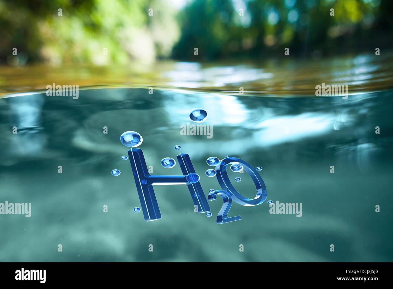 Das chemische Symbol für Wasser, H2O. Stockbild