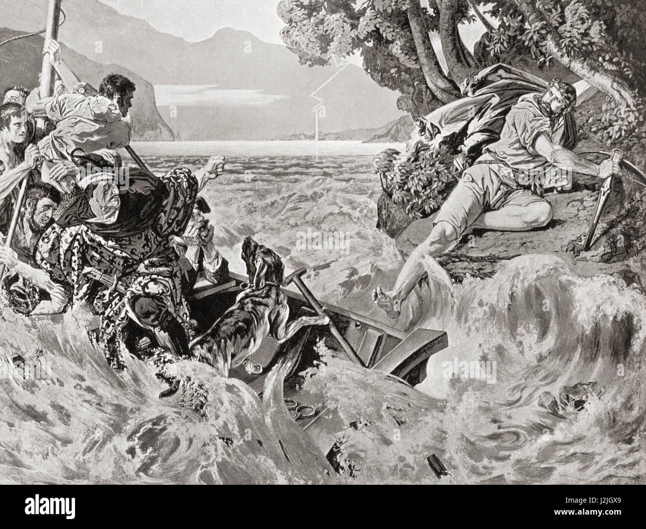 William Tell wird über den See nach Kussnacht aber Sprünge vom seine Kidnapper Gessler durchgeführt, Stockbild