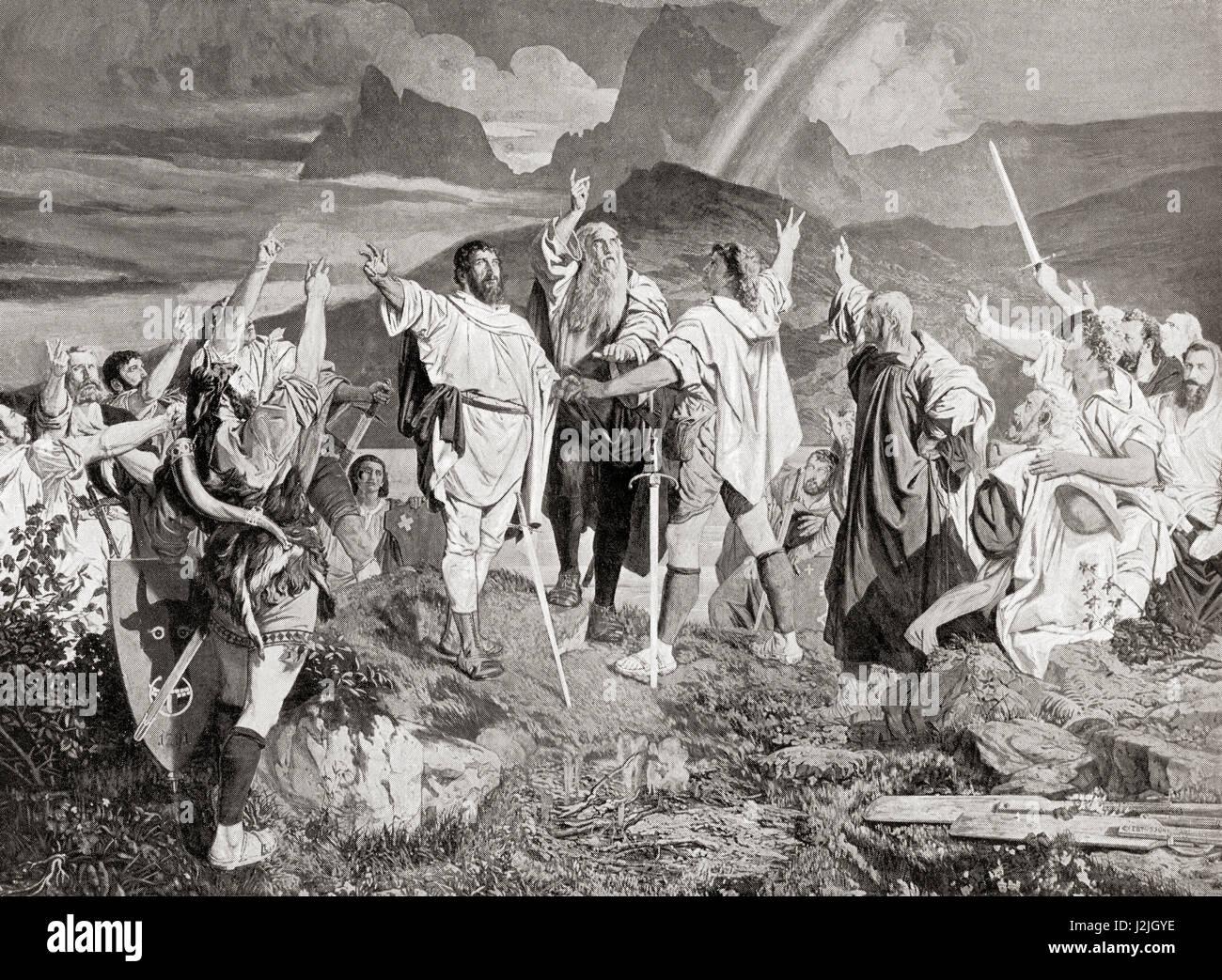 Der Rütlischwur, einem legendären Schwur der alten Eidgenossenschaft, aufgenommen auf dem Rütli, Stockbild