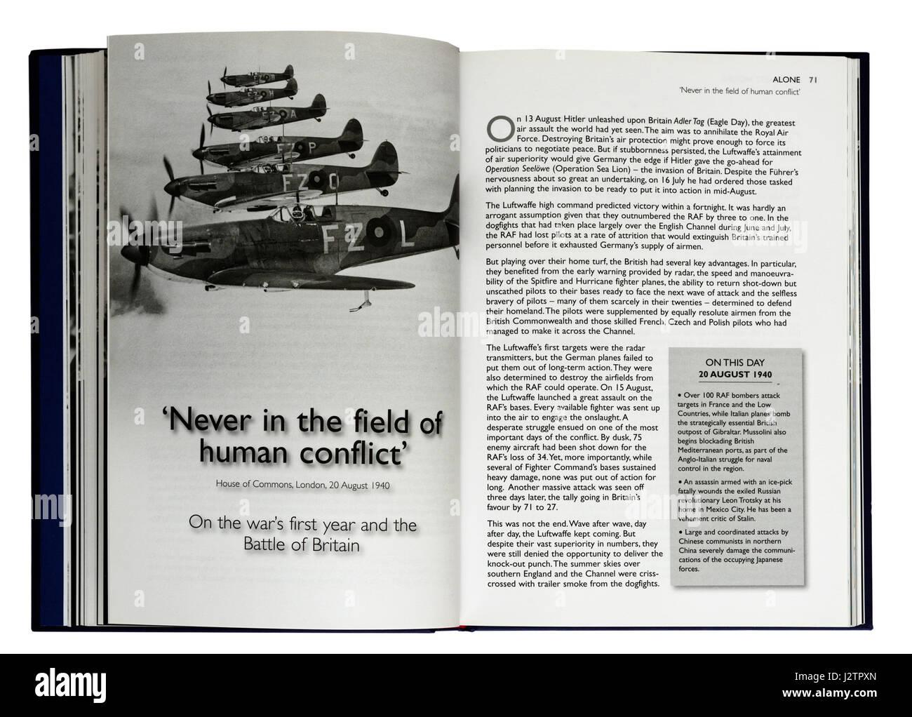 Nie im Bereich des menschlichen Konflikt: eine Seite aus einem Buch Illustrated Winston Churchills berühmten Stockbild