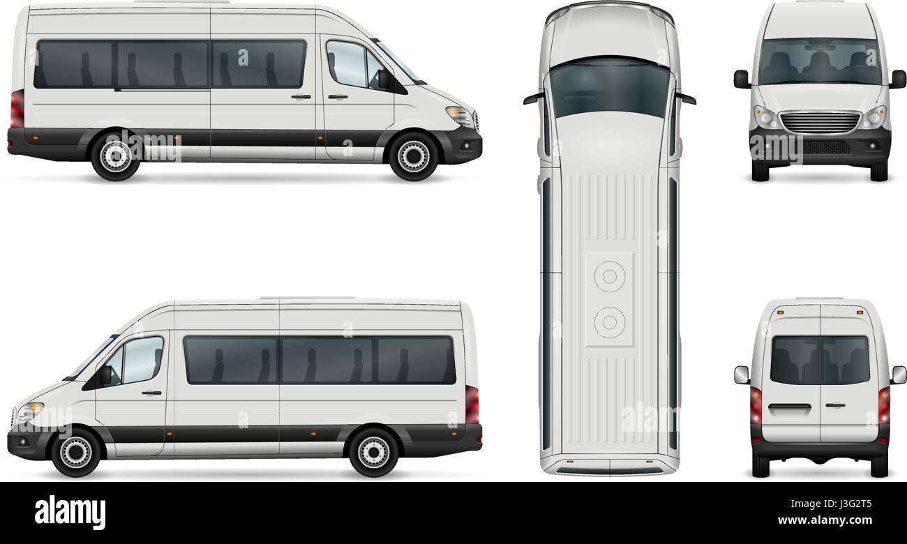 Weißer Lieferwagen Vektor Vorlage. Isolierte Pkw Mini-Bus. Alle ...