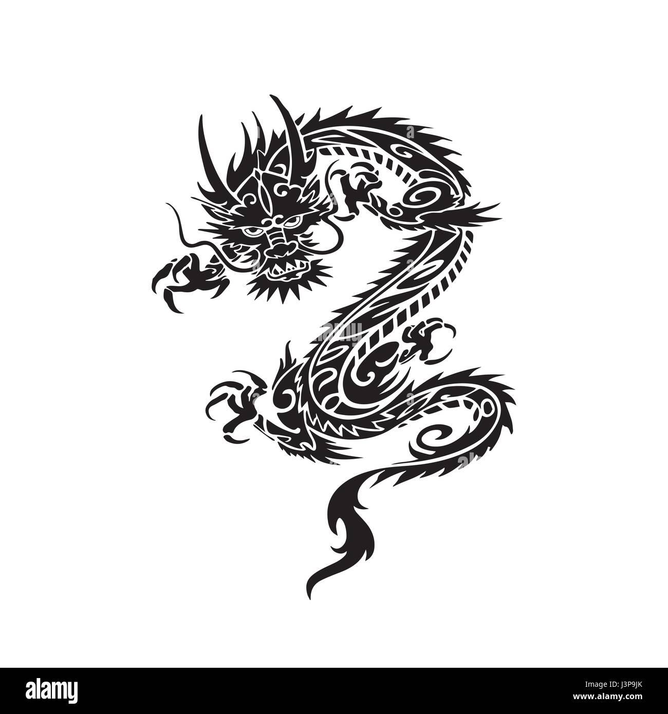 chinesische drachen tattoo design vektor abbildung bild. Black Bedroom Furniture Sets. Home Design Ideas