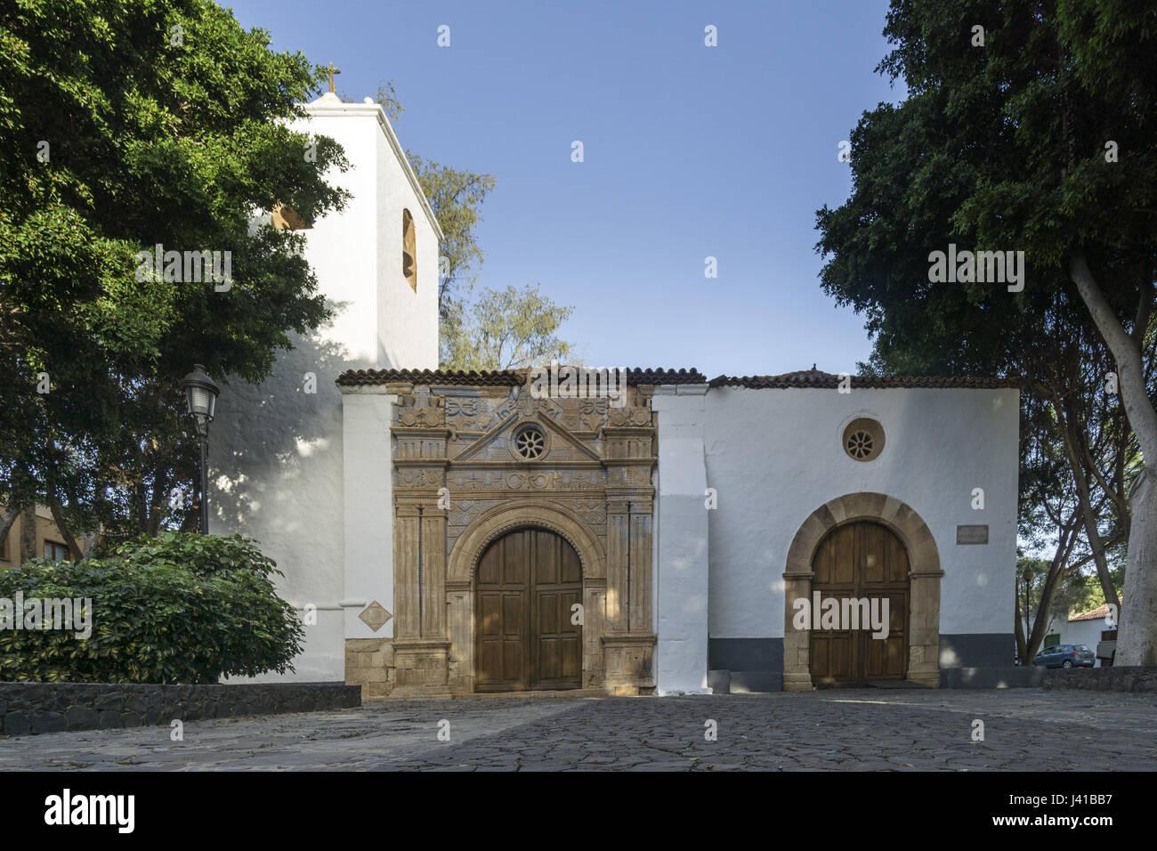 Reich verzierte Portal der Kirche in Pajara, Nuestra Senora de Regla, Fuerteventura, Kanarische Inseln, Spanien Stockbild