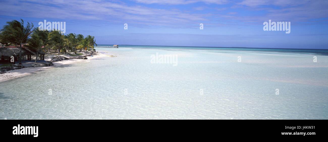 Cayo Coco, Guillermo Strand Karibik, Karibik, Kuba, die großen Antillen, Insel, Inselstaat, Palmeninsel, Meer, Stockbild