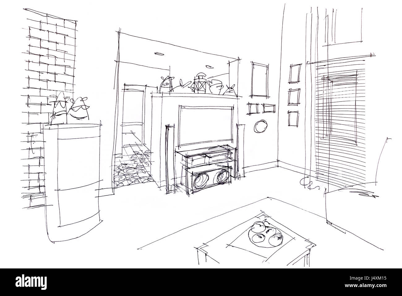 Hand drawn architectural perspective apartment stockfotos for Raumgestaltung prasentation
