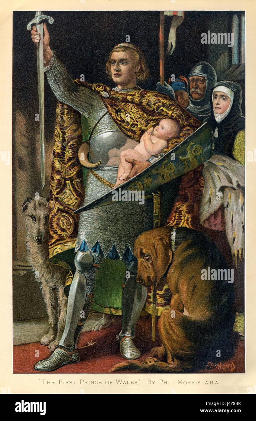 Das erste Prince Of Wales, späten viktorianischen Malerei des späteren Edward II, präsentiert das Stockbild