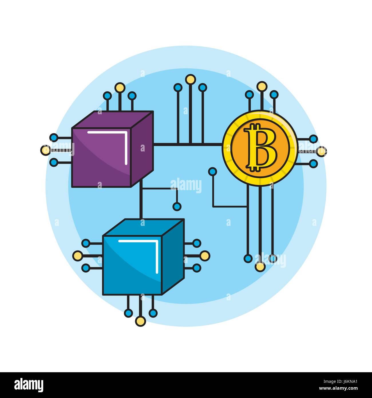 Verbindungen mit elektronischen Schaltungen und Bitcoin Quadrate Stockbild
