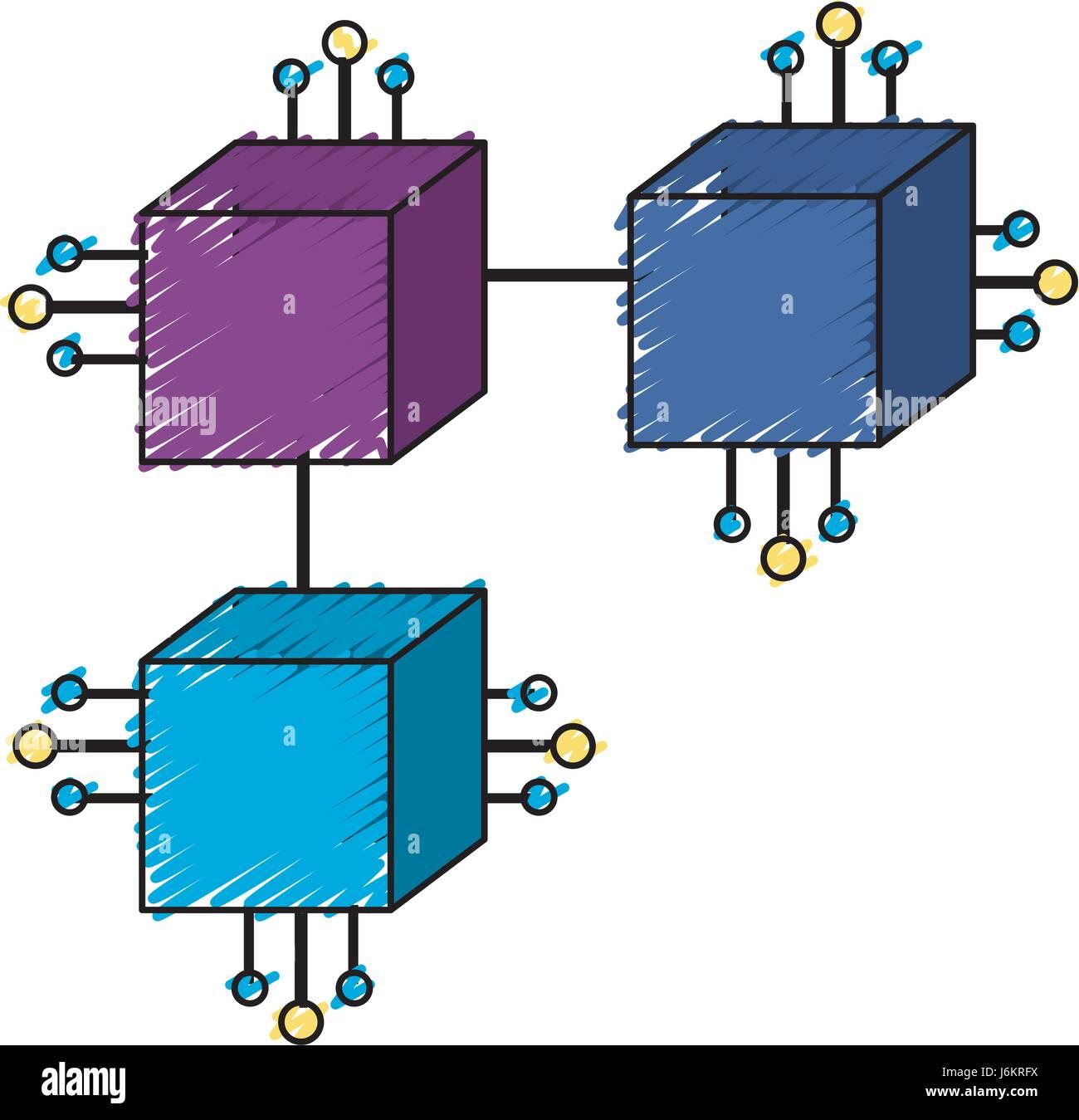 Quadrate Digitalanschlüsse mit elektronischen Schaltungen Stockbild