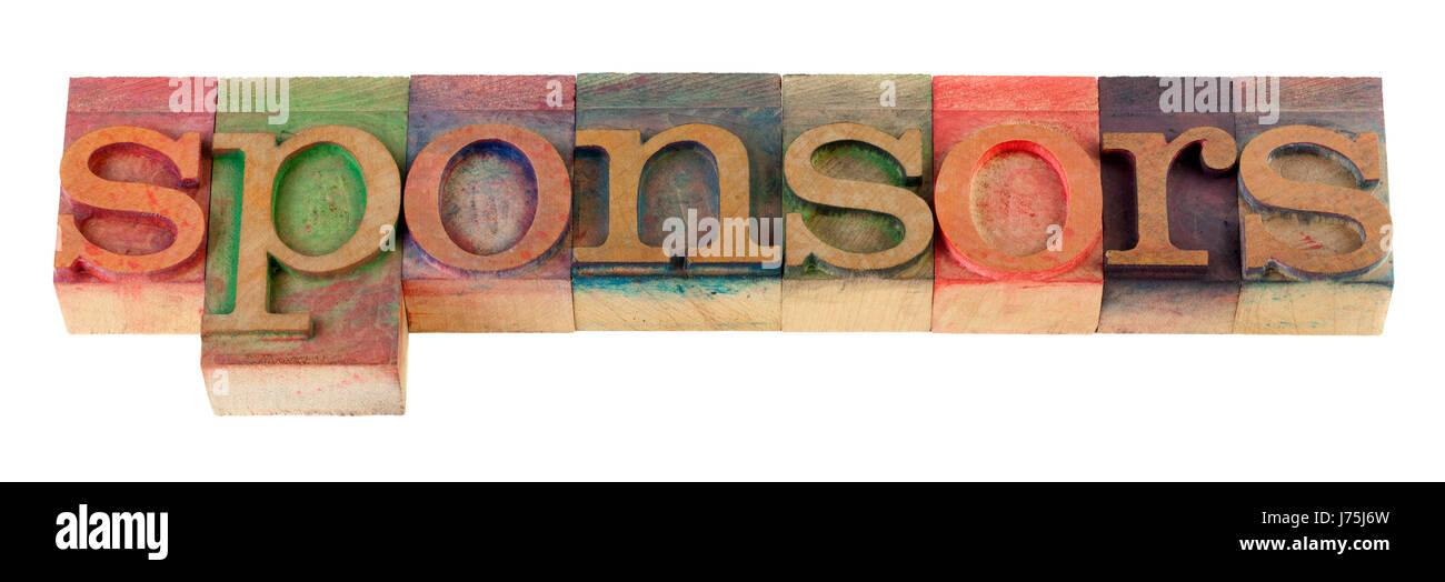 Sponsor Fan Fan Hilfe Hilfe Unterstützung Hilfe Farbe Holz vintage Stockbild