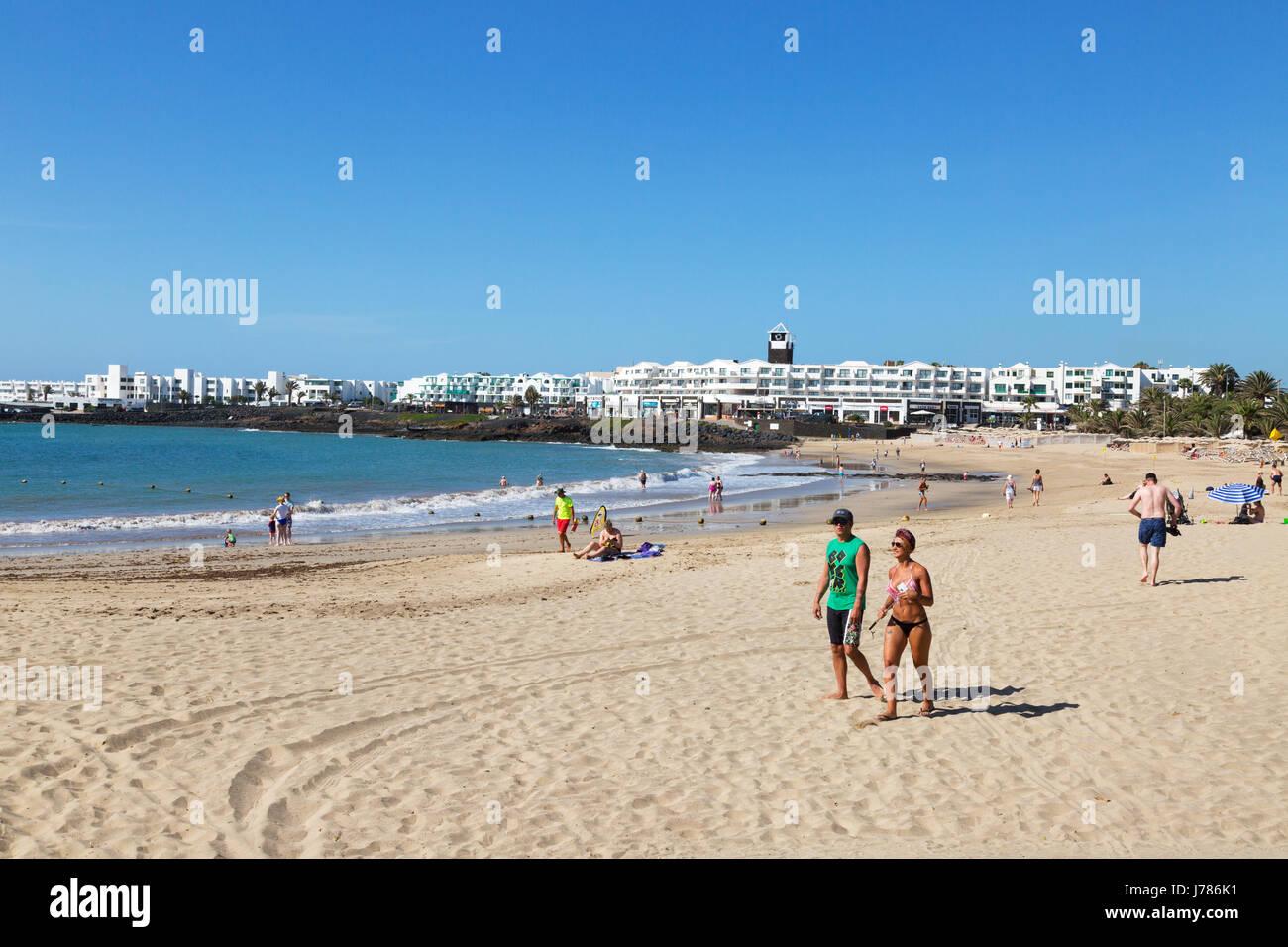 Lanzarote Strand, Playa Las Cucharas, Costa Teguise, Lanzarote, Kanarische Inseln-Europa Stockbild