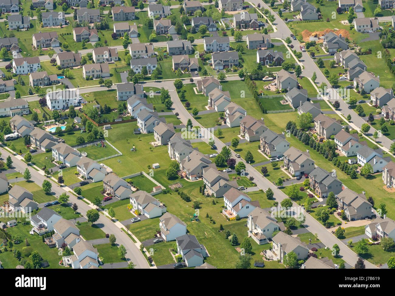 Luftaufnahme von Pennsylvania Vorort beherbergt Wohngegend Stockbild