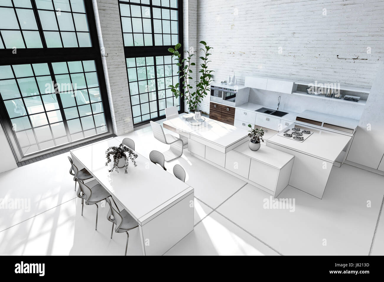 Kitchen Dining Room Open Plan Monochromatic Stockfotos U0026 Kitchen .