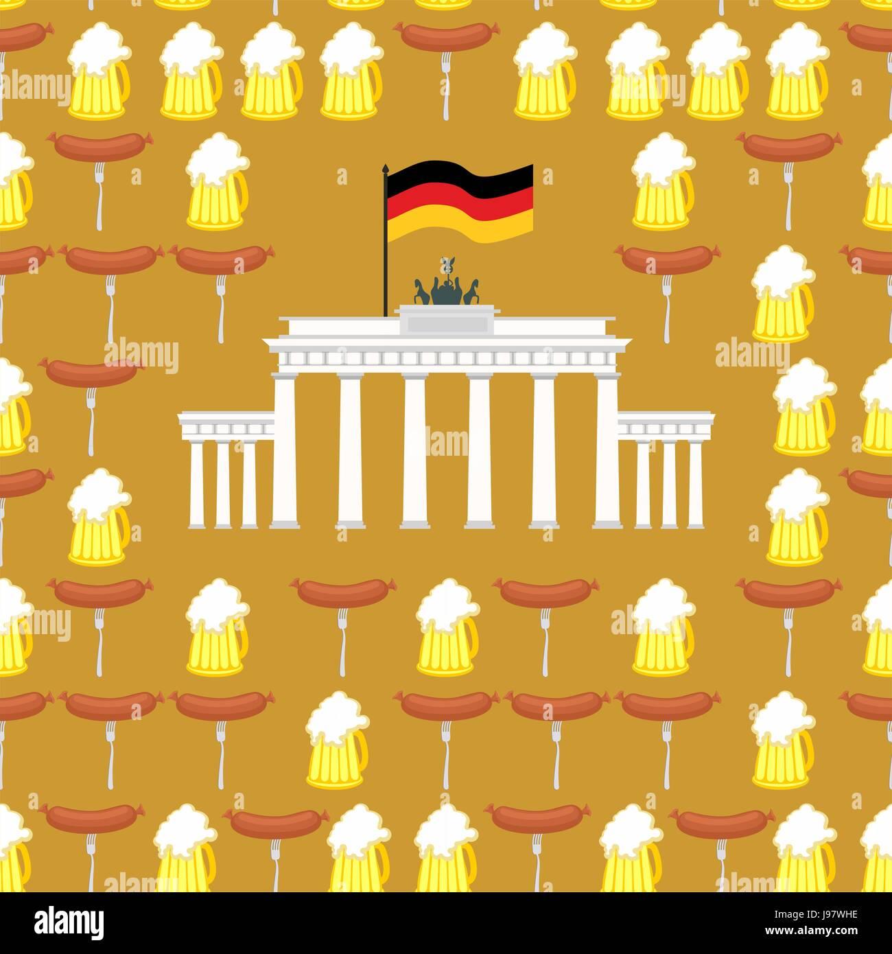 Deutsche nahtlose Ornament. Symbole für Deutschland: Bier und ...