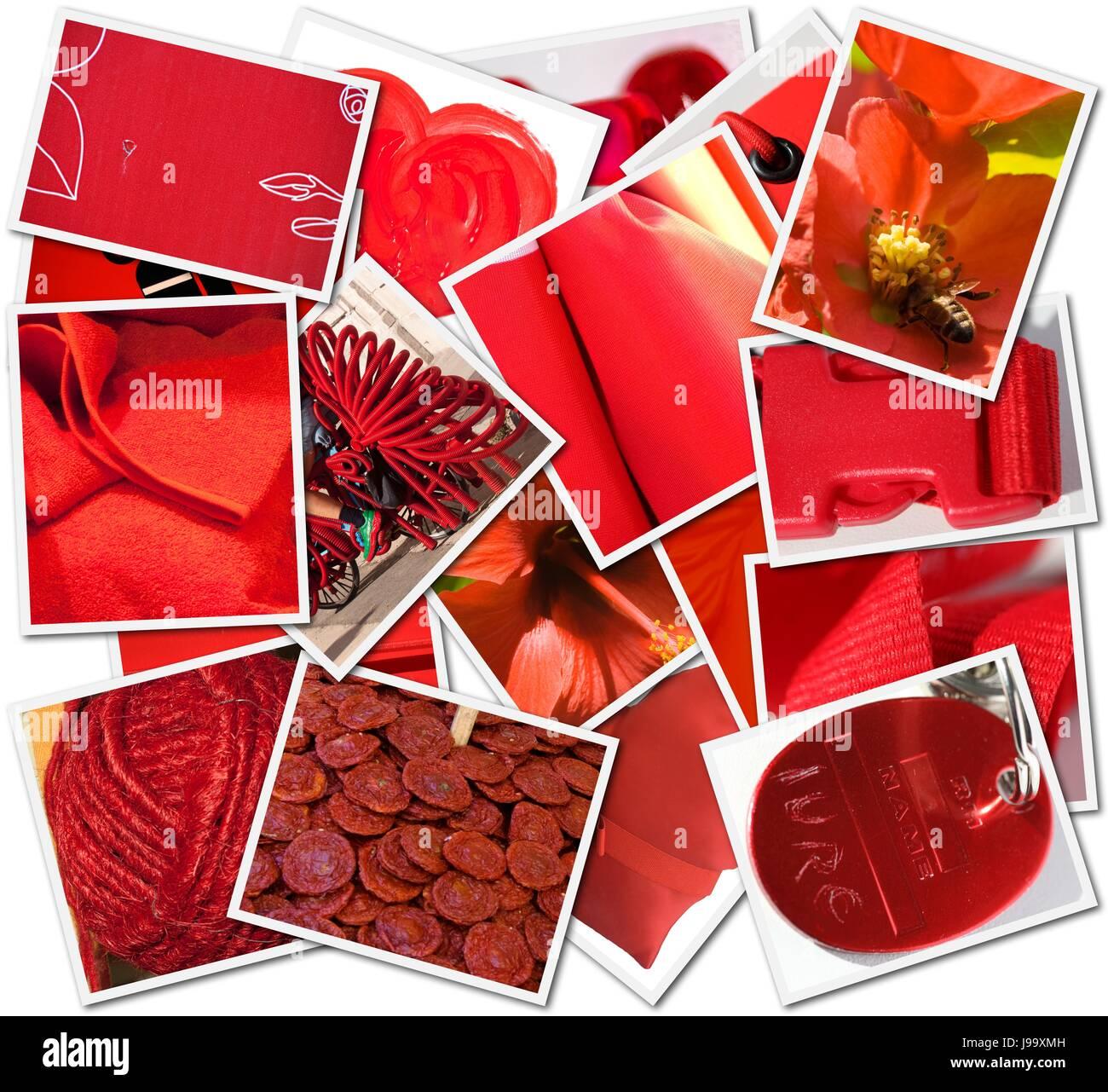 Objekt, Farbe, Collage, Fotos, Farbe, Bilder, Montage, Montage, rot, Stockbild